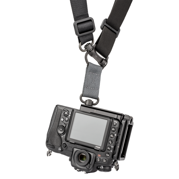 L-Plate set for Nikon D500 seen on camera attached to QD strap