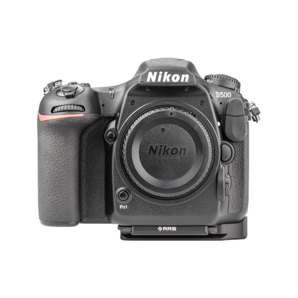 Plate for Nikon D500 front view seen on camera