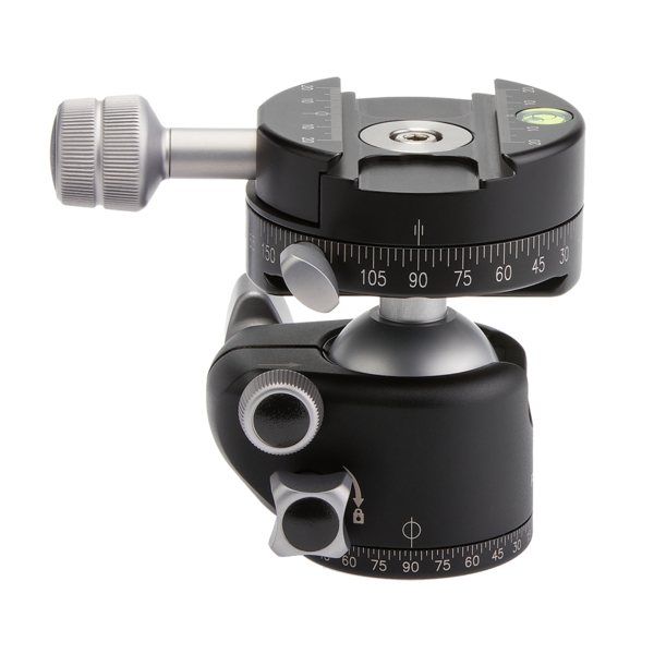 Back view of BH-40 ballhead with a lever release leveling clamp with 90-degrees in the two drop-notches.