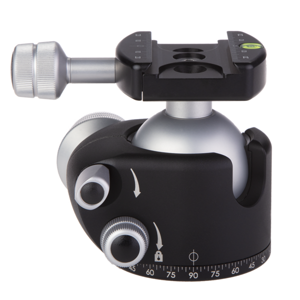 BH55 Ballhead, side view with PRO style Clamp
