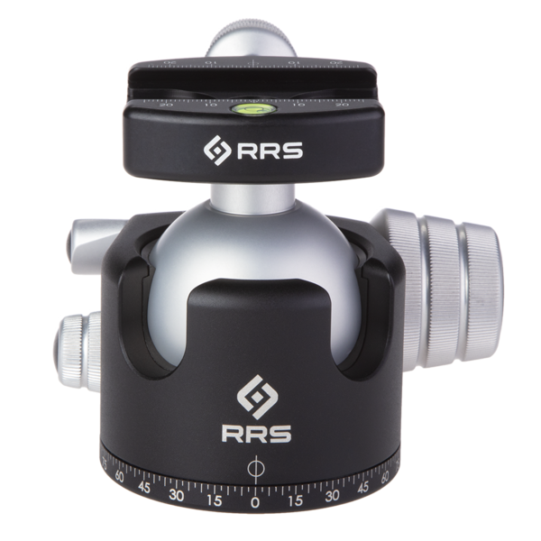 BH-55 Ballhead for tripods and monopods, shown with a 'pro'-style quick-release clamp.