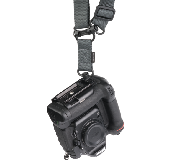 Plate for Nikon MB-D17 battery grip attached to camera strap