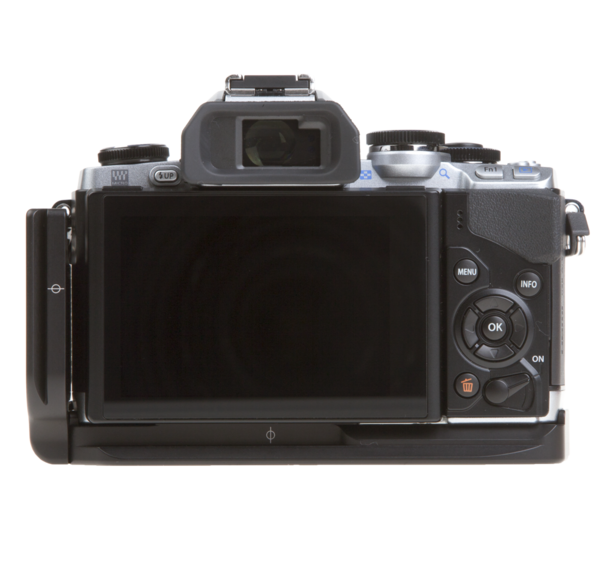 L-plate for Olympus OM-D E-M10 attached to camera back view