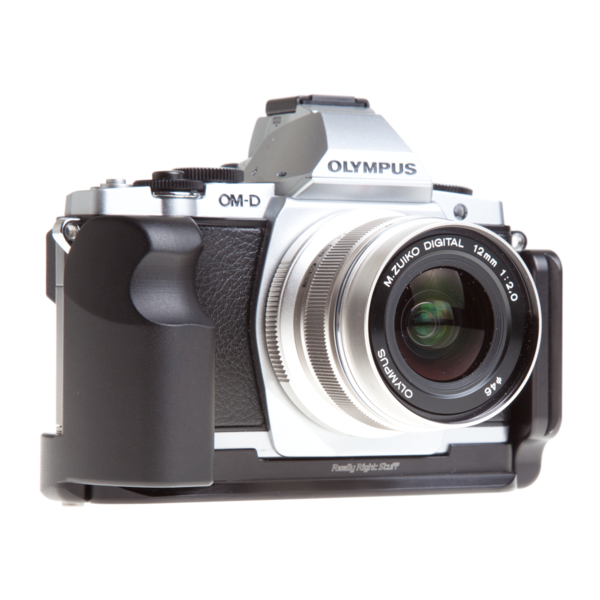 L-plate and grip for Olympus OM-D E-M5 seen on camera front view