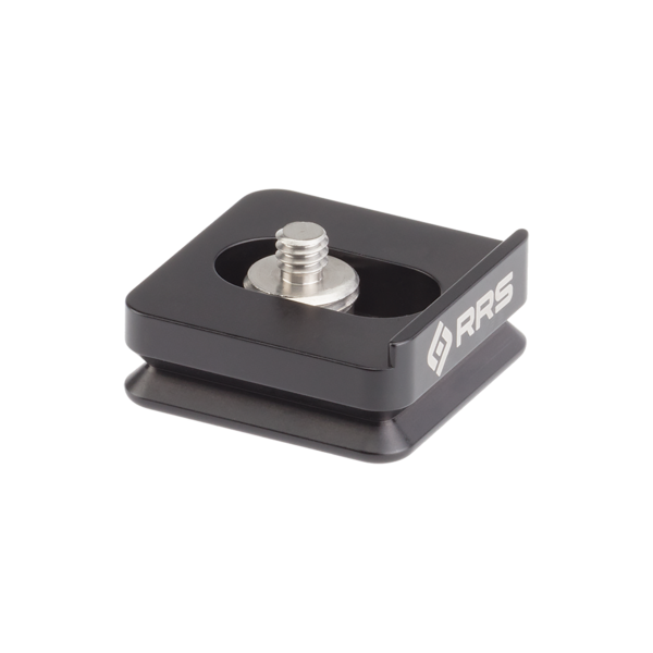 Bi-directional plate for quick-detach strap swivel top angled view with custom screw with integrated QD socket