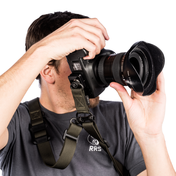 Bi-directional plate for quick-detach strap swivel seen with camera and model