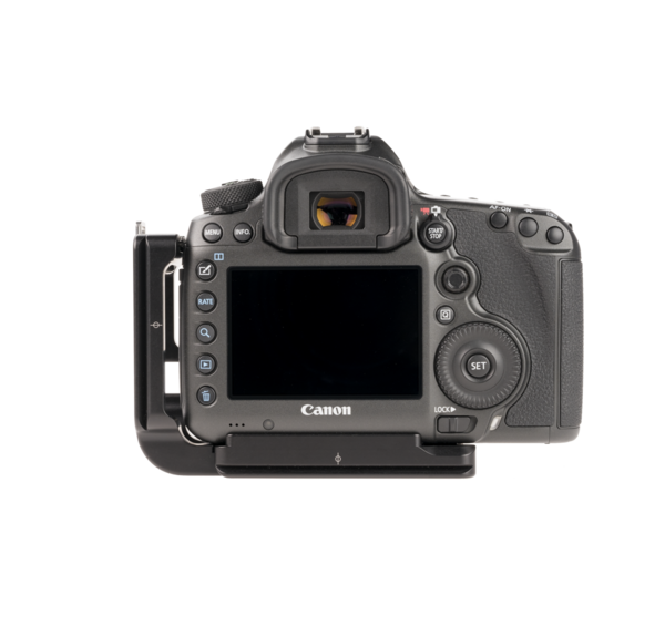 B5DS aluminum L plate attached to camera back view