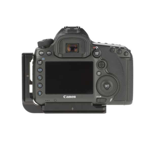 Base plate and L-component on Canon camera - back view
