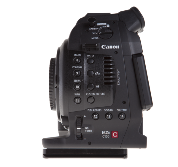 Plate for Canon C300/C100/C500 seen on camera side view