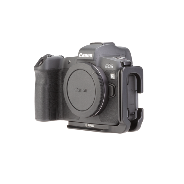 Canon EOSR L-plate angled front view.