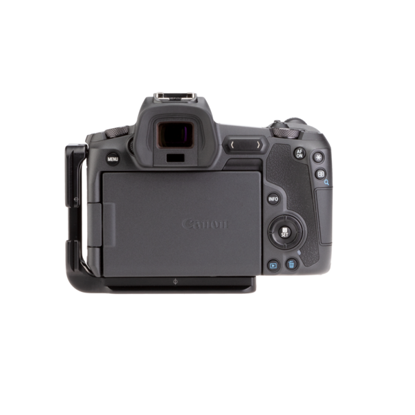 Canon EOSR with L-plate back view.