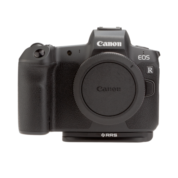 Canon EOSR with base plate front view.