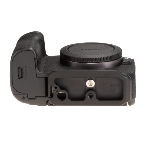 Canon EOSR with base plate bottom view.