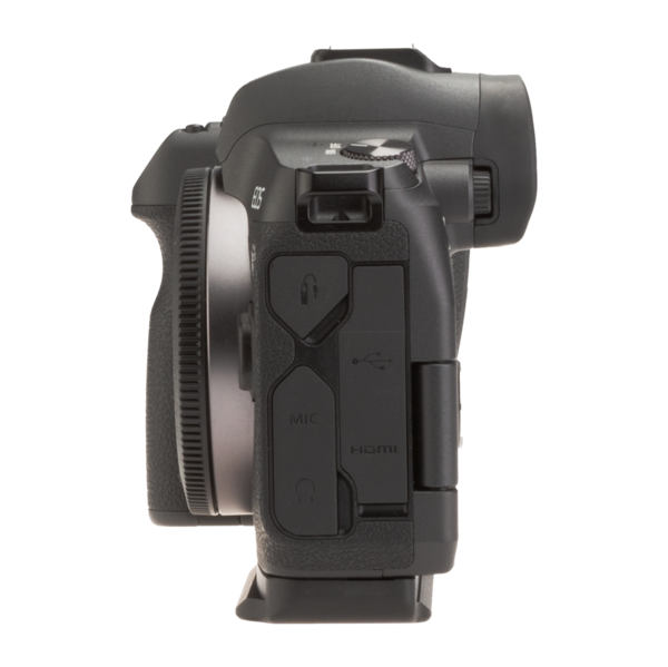 Canon EOSR with base plate side view.
