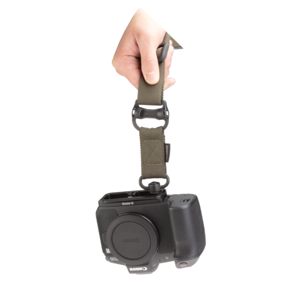 Canon EOSR base plate attached to a QD strap front view.