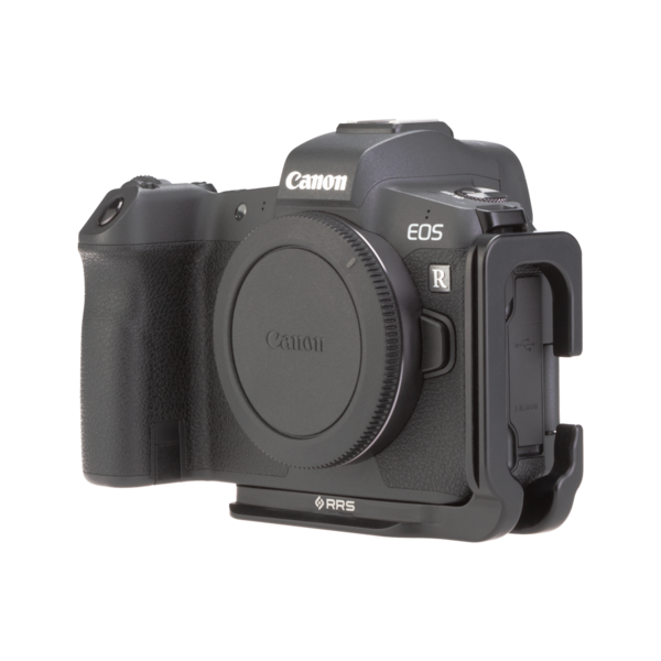 Canon EOSR with L-plate angled front view.