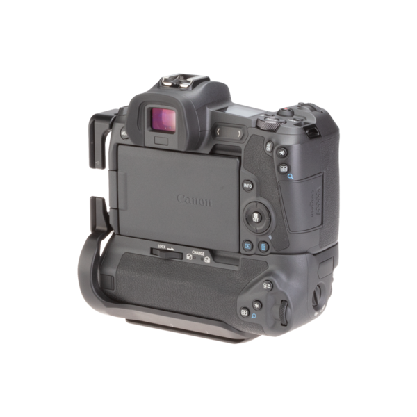 Canon EOSR with battery grip L-plate angled back view.
