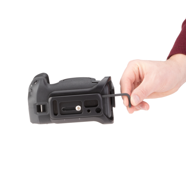 Canon EOSR with battery grip L-plate accessing hex key bottom view.