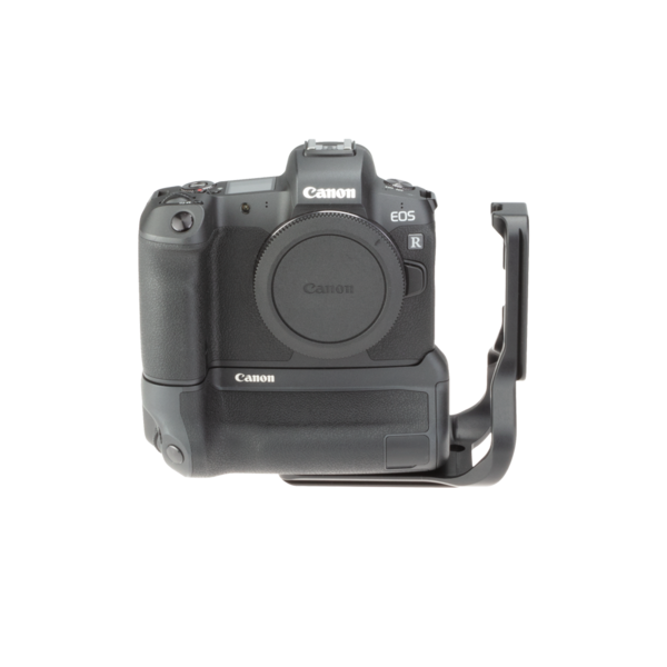 Canon EOSR with extended battery grip L-plate front view.