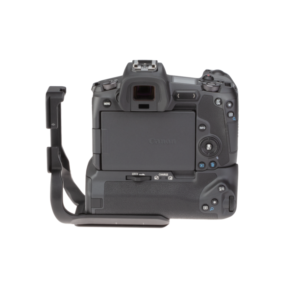 Canon EOSR with extended battery grip L-plate back view.