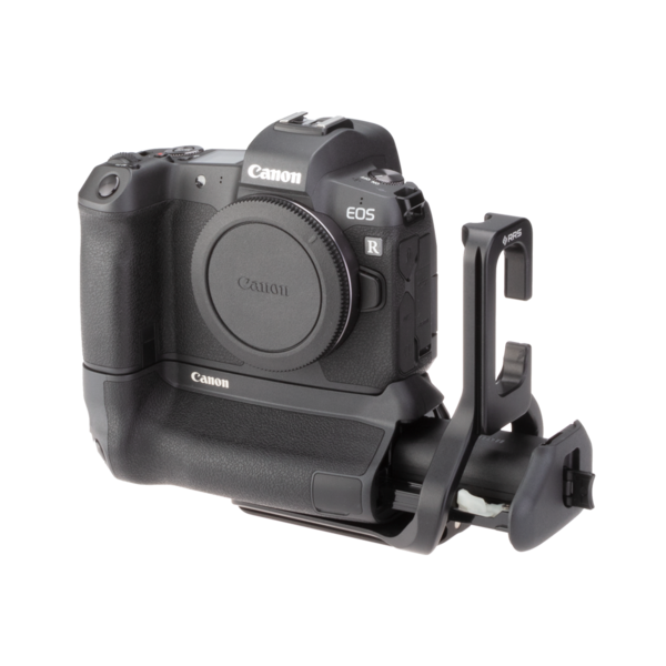 Canon EOSR with battery case opened and with extended battery grip L-plate angled front view.