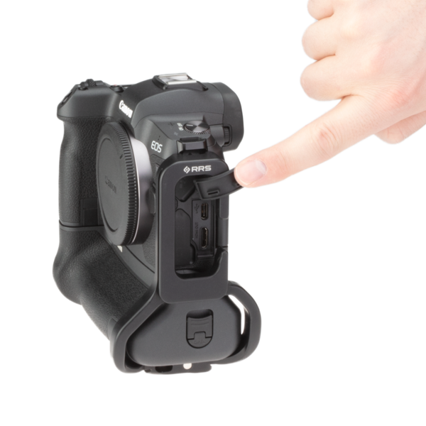 Canon EOSR with battery grip L-plate accessing cable ports side view.