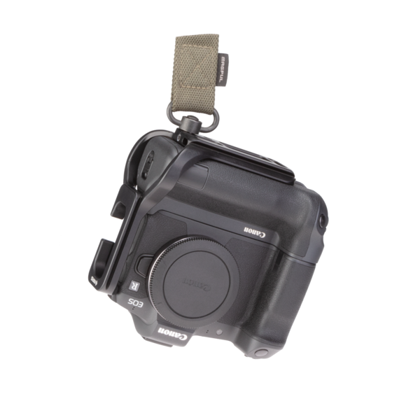 Canon EOSR battery grip L-plate attached to a QD strap front view.