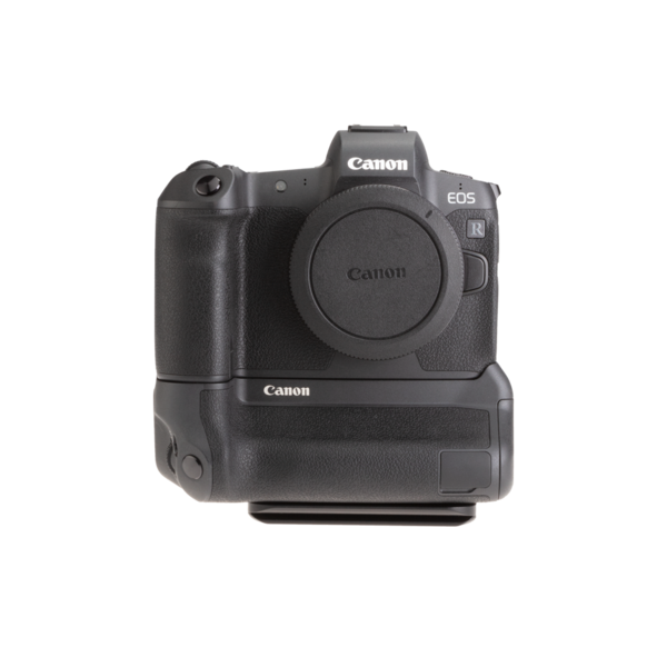 Canon EOSR with battery grip L-plate front view.