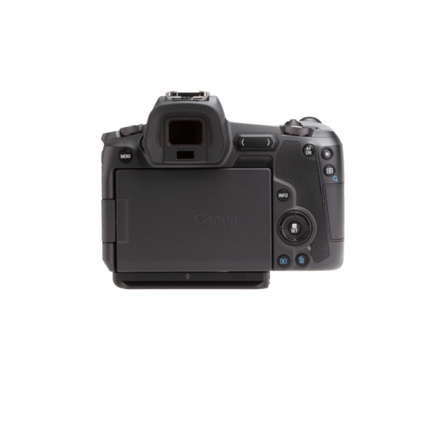 Canon EOSR with base plate back view.