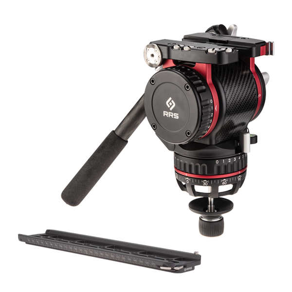 FH-7240 cinema fluid head front angled view with panning handle.