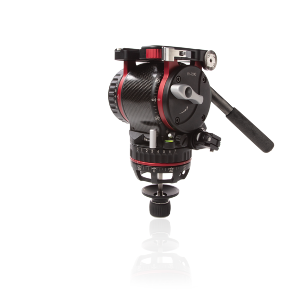 FH-7240 cinema fluid head front angled view with dampening and panning settings.