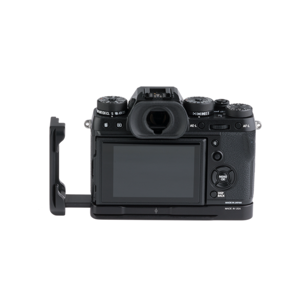 BXT2 Plates for Fuji X-T2 with L-component extended seen on camera back view