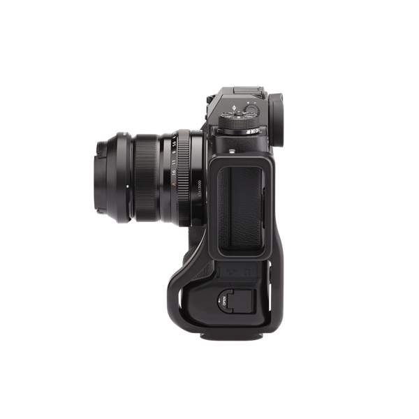 BXT2 Plates for Fuji X-T2 with L-component and battery grip attached to camera side view