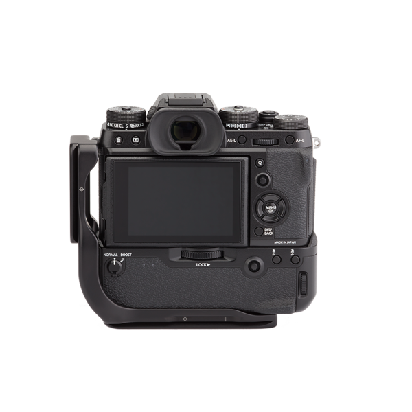 BXT2 Plates for Fuji X-T2 with L-component seen on camera with battery grip back view