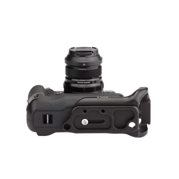 Underside of X-T2 battery grip plate adjusted to allow for space next to camera's side ports