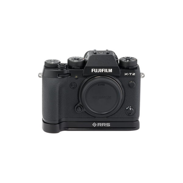 BXT2 Plates for Fuji X-T2 base plate attached to camera front view