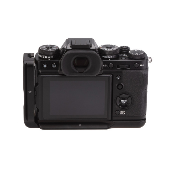 Fuji X-T3 with Really Right Stuff modular L-plate - back view