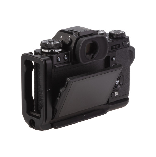 Fuji X-T3 with Really Right Stuff modular L-plate - back angled view with screen popped out