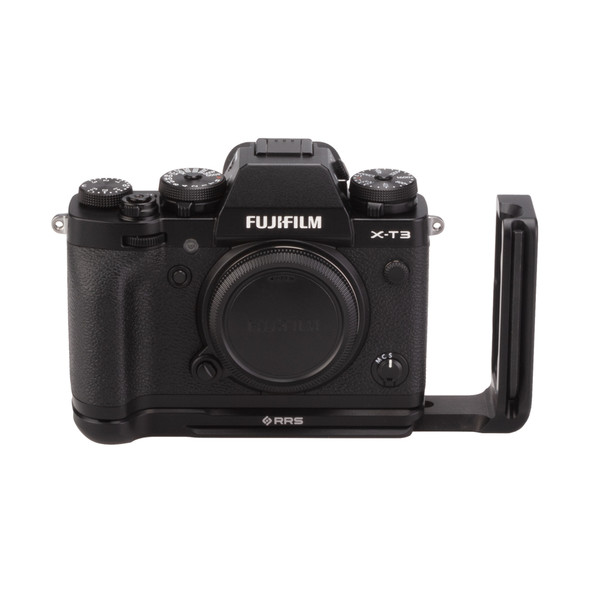 Fuji X-T3 with Really Right Stuff modular L-plate - l bracket extended