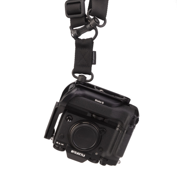 Fuji X-T3 Battery Grip with Really Right Stuff L-Plate hanging from mag pull - front view