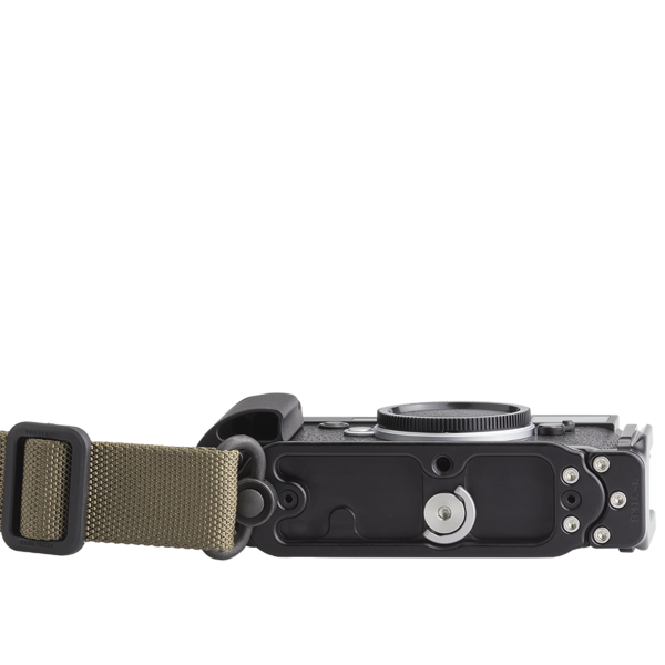 Base plate with strap mounted to QD socket