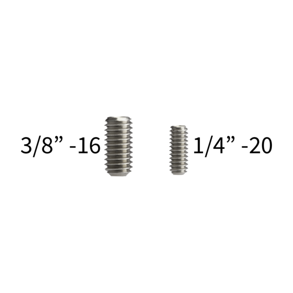 Two different platform screw sizes that you can choose for your MC-34 monopod