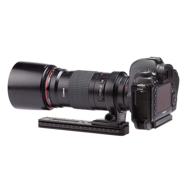 MPR 192mm rail attached to camera rear angled view