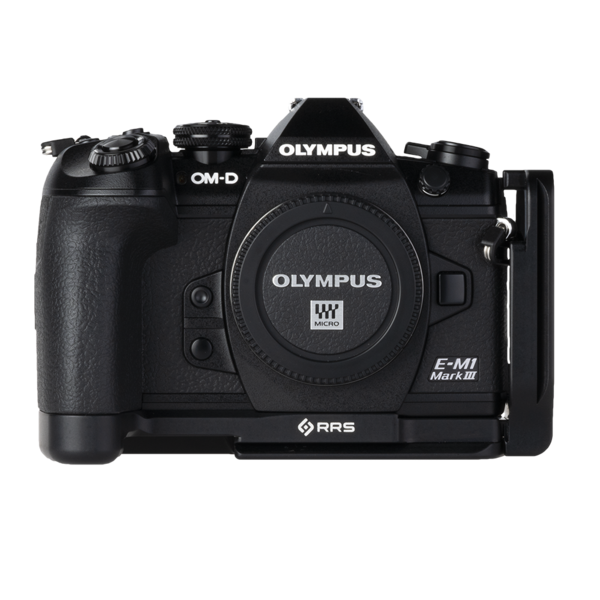 L-component and base plate on Olympus camera- front view