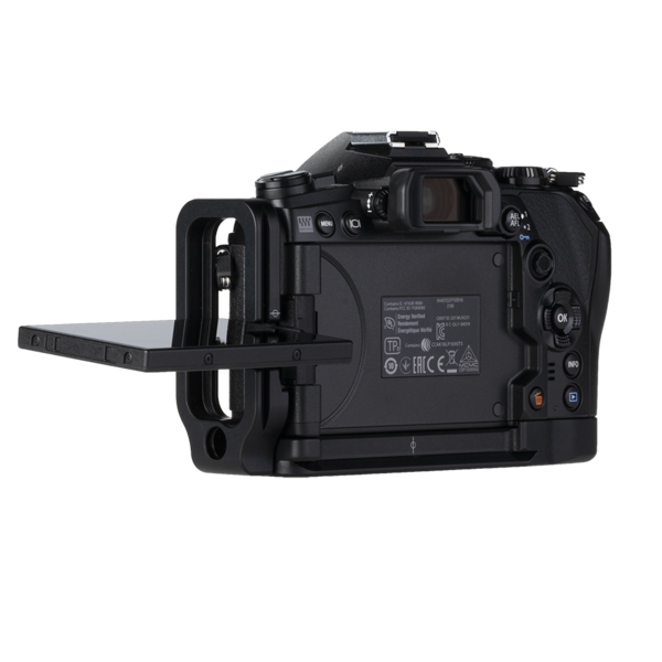 L-component on Canon camera - side view. Cable sockets can easily be opened.