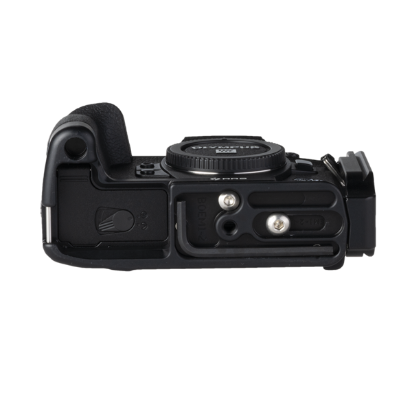 L-Component and base plate for Sony A99II - front view. The L-component is fully extended, providing space for cables.