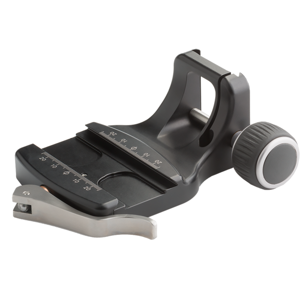 The PG-CC adjustable Lever-Release Clamp accepts all Arca-Swiss style plates except Arca-Swiss P0 plates and Novoflex brand plates