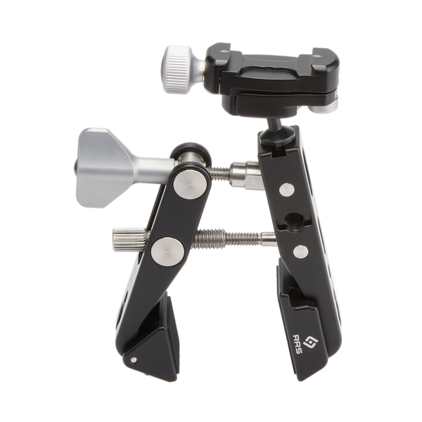 """Multi-Clamp with Flat Surface Adapters and BC-18. The BC‑18 can be mounted into the ¼"""" hole in the Multi‑Clamp jaw, or use the included 3/8"""" to ¼"""" reducer bushing to use the other holes."""