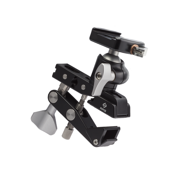 "Multi-Clamp with Flat Surface Adapters and BH-25 LR Ballhead. The BH‑25 LR ballhead can be mounted into any of the 3/8"" sockets using the included 3/8"" studs."